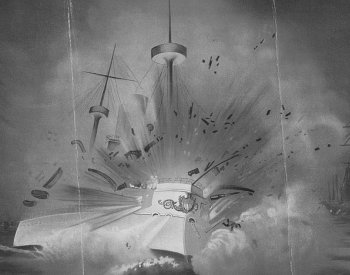 Image: 1898 Illustration of the explosion of the Maine. From the Library of Congress.