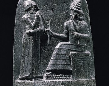 Image: Relief of Hammurabi and the god Shamash from the stela copy of Hammurabi's Code. Retrieved from the Wikimedia Commons.