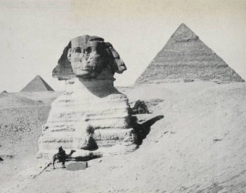 Image: Photo of the Sphinx and pyramids taken by David Gardiner in 1906. From the Travelers in the Middle East Archive.