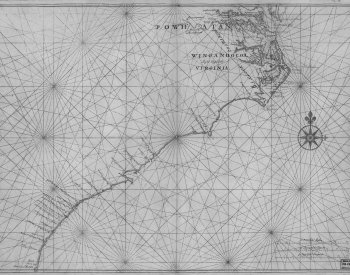 Image: Map of Atlantic Coast of North America from the Chesapeake Bay to Florida by Joan Vinckeboons, 1639?. From the Library of Congress.