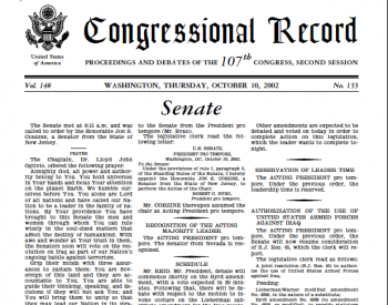 Image: Page from the Senate Congressional Record, October 10, 2002. From Congress.gov.