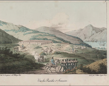 Painting of the San Francisco Presidio depicted by artist Louis Choris, ca. 1815. From the Calisphere Digital Library.