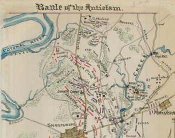 Image: Map of forces in Washington County, Maryland during the Battle of Antietam by Robert Knox Sneden, 1861-1865. From the Library of Congress