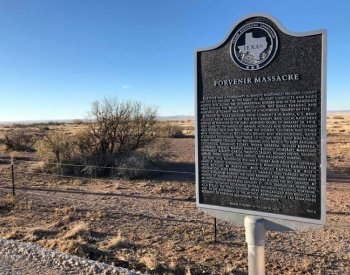 Image: Photograph of a Texas state historical marker commemorating the Porvenir Massacre. From the Texas Historical Commission.